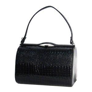 Tigerstars Chic Black Moc Croc Top Handle Case Bag